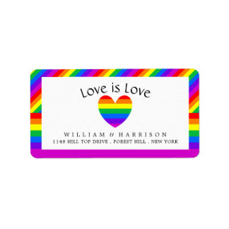 Rainbow Heart Love is Love Wedding Address Label