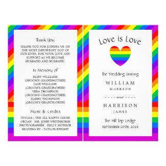 Rainbow Heart Love is Love Wedding Bi-fold Program 21.5 Cm X 28 Cm Flyer