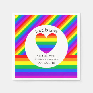 Rainbow Heart Love is Love Wedding Disposable Napkins