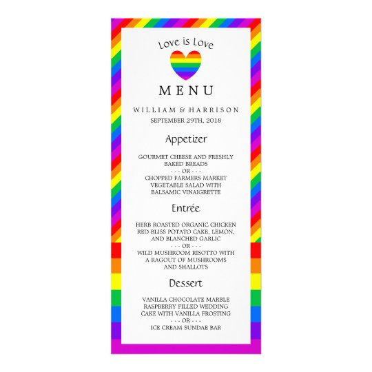 Rainbow Heart Love is Love Wedding Menu