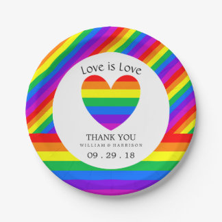 Rainbow Heart Love is Love Wedding Paper Plate