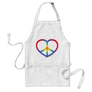 Rainbow Heart, Love, Peace Sign Adult Apron
