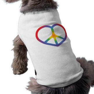 Rainbow Heart Love Peace Sign Dog Tee