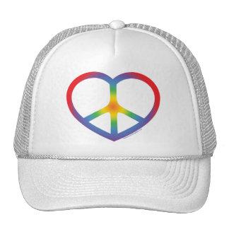 Rainbow Heart, Love, Peace Sign Trucker Hat