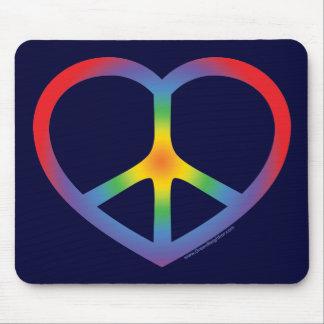 Rainbow Heart, Love, Peace Sign Mouse Mat
