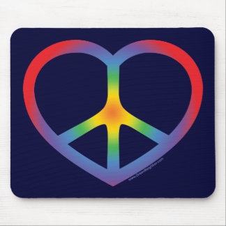 Rainbow Heart, Love, Peace Sign Mousepads