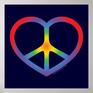 Rainbow Heart, Love, Peace Sign Print