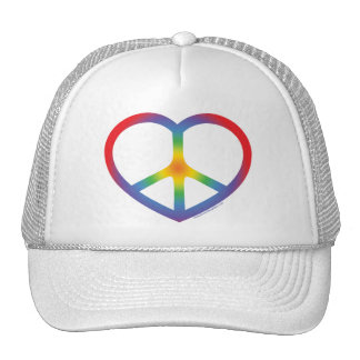 Rainbow Heart, Love, Peace Sign Trucker Hat