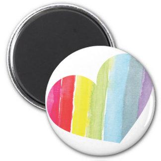 Rainbow Heart 6 Cm Round Magnet