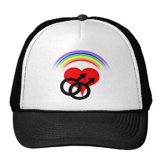 Rainbow Heart Male Design (Black) Cap