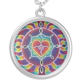 Rainbow Heart Mandala Necklace