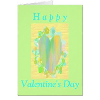 Rainbow Heart on Petals Greeting Card