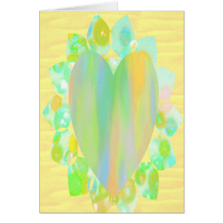 Rainbow Heart on Petals Greeting Cards