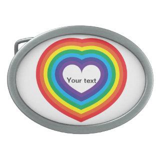Rainbow heart oval belt buckle