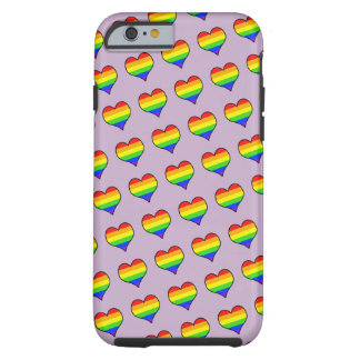 Rainbow Heart Pattern Tough iPhone 6 Case