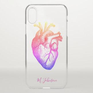 Rainbow Heart Personalised iPhone X Case
