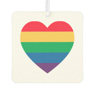Rainbow Heart Pride Car Air Freshener
