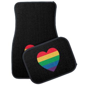 Rainbow Heart Pride Car Mat