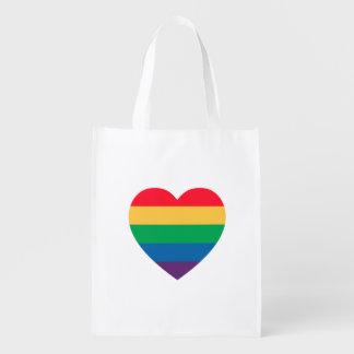 Rainbow Heart Pride Reusable Bag