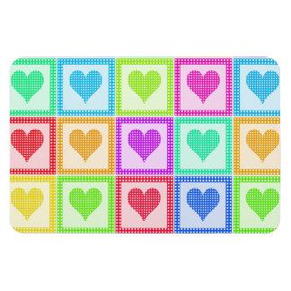 Rainbow Heart Quilt Pattern Rectangular Photo Magnet