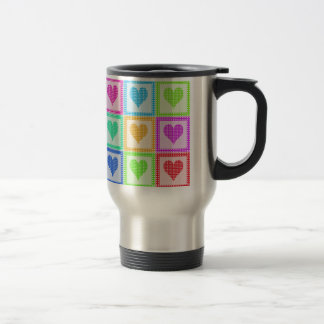 Rainbow Heart Quilt Pattern Travel Travel Mug