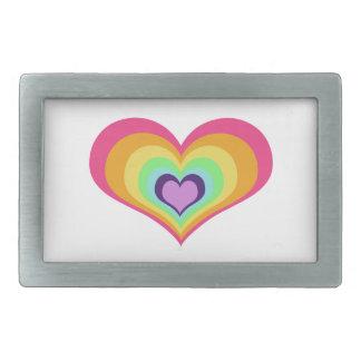 Rainbow Heart Rectangular Belt Buckles