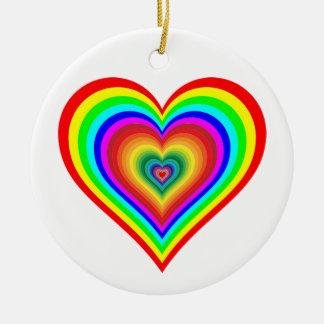 Rainbow heart round ceramic decoration