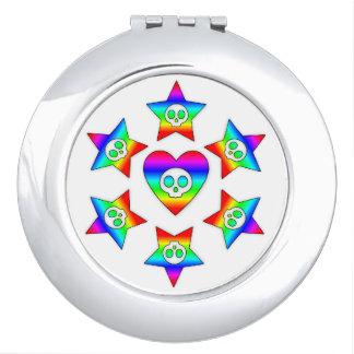 Rainbow Heart Skull compact mirror
