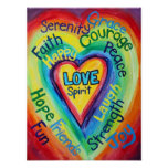 Rainbow Heart Spirit Words Art Poster Print