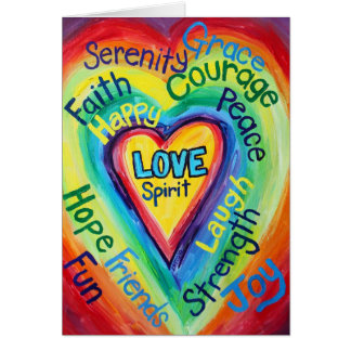 Rainbow Heart Spirit Words Card