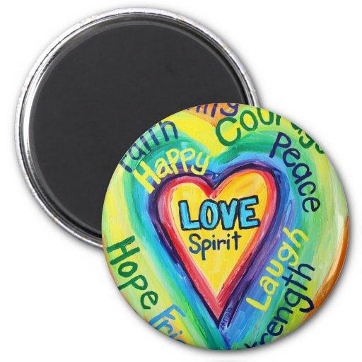 Rainbow Heart Spirit Words Magnet