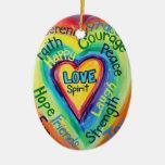 Rainbow Heart Spirit Words Ornament
