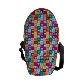 Rainbow heart squares commuter bag