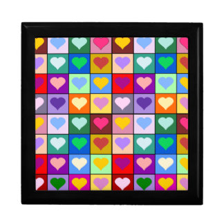 Rainbow heart squares gift box