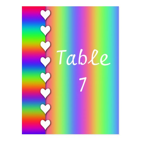 Rainbow Heart Striped Wedding Table Numbers Postcard