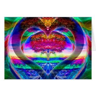 Rainbow Heart Tree of Life Card