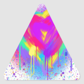 Rainbow Heart Triangle Sticker