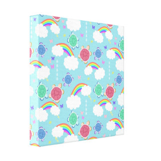 Rainbow Heart Turtle Pattern Stretched Canvas Prints