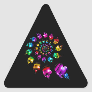 Rainbow Heart Wheel on Black Triangle Sticker