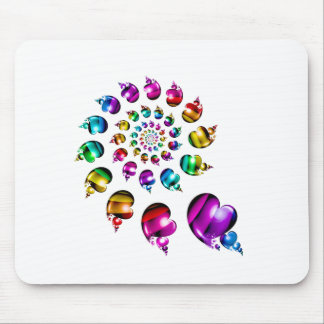 Rainbow Heart Wheel on White Mouse Pad