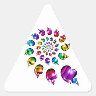 Rainbow Heart Wheel on White Triangle Sticker