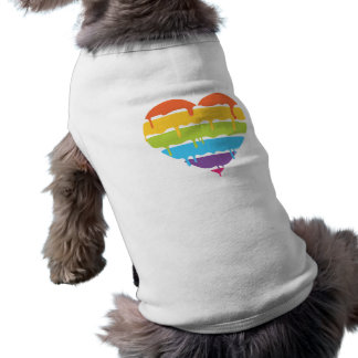 Rainbow heart with dripping paint sleeveless dog shirt