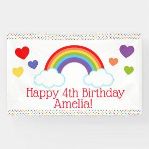 Rainbow Hearts and Dots Girls Birthday Banner