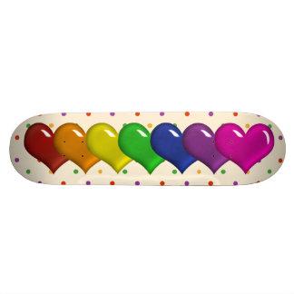 Rainbow Hearts and Polka Dots Girls Skatedeck Skate Deck