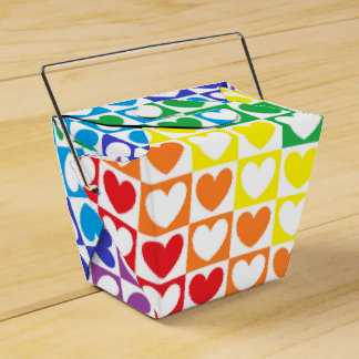 Rainbow Hearts and Squares Favour Box