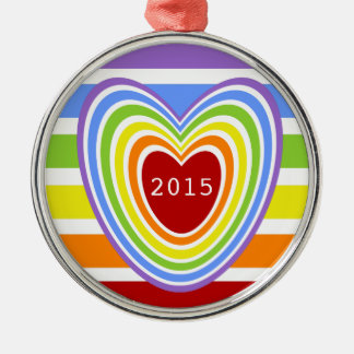 Rainbow Hearts and Stripes Christmas Ornament