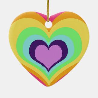 Rainbow Hearts Art Ceramic Heart Decoration