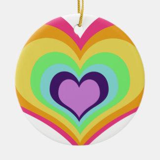 Rainbow Hearts Art Round Ceramic Decoration