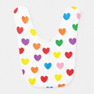 """""""Rainbow Hearts"""" Baby Bib"""
