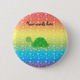 Rainbow hearts baby turtle 6 cm round badge